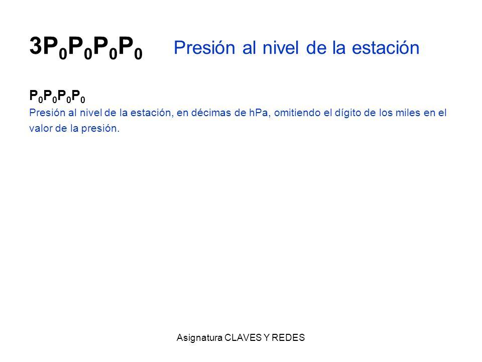 Asignatura CLAVES Y REDES 3P 0 P 0 P 0 P 0 Presión al nivel de la estación P 0 P 0 Presión al nivel de la estación, en décimas de hPa, omitiendo el dí