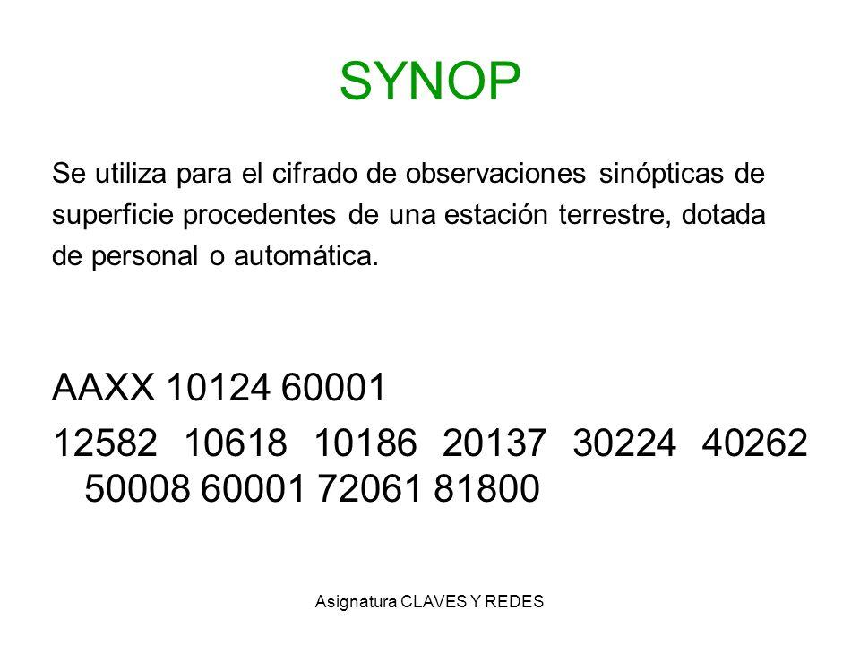 Asignatura CLAVES Y REDES SYNOP Se utiliza para el cifrado de observaciones sinópticas de superficie procedentes de una estación terrestre, dotada de