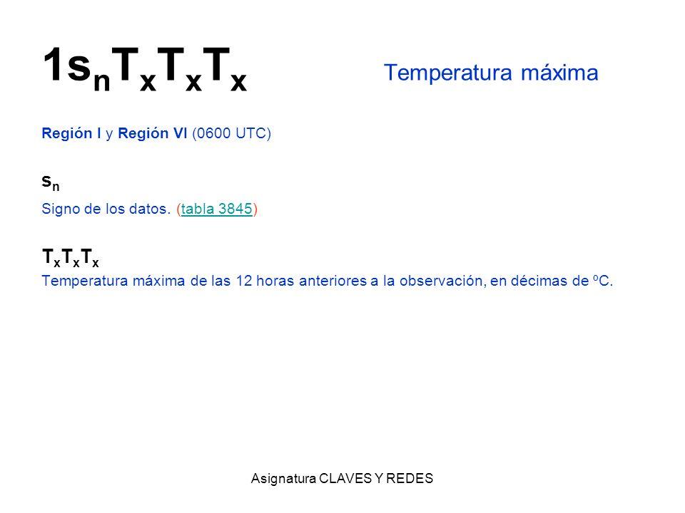 Asignatura CLAVES Y REDES 1s n T x T x T x Temperatura máxima Región I y Región VI (0600 UTC) s n Signo de los datos. (tabla 3845)tabla 3845 T x T x T