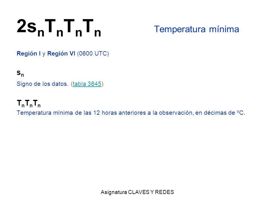 Asignatura CLAVES Y REDES 2s n T n T n T n Temperatura mínima Región I y Región VI (0600 UTC) s n Signo de los datos. (tabla 3845)tabla 3845 T n T n T