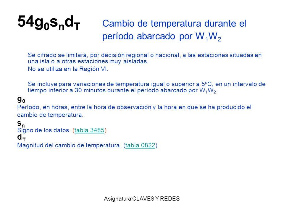 Asignatura CLAVES Y REDES 54g 0 s n d T Cambio de temperatura durante el período abarcado por W 1 W 2 Se cifrado se limitará, por decisión regional o