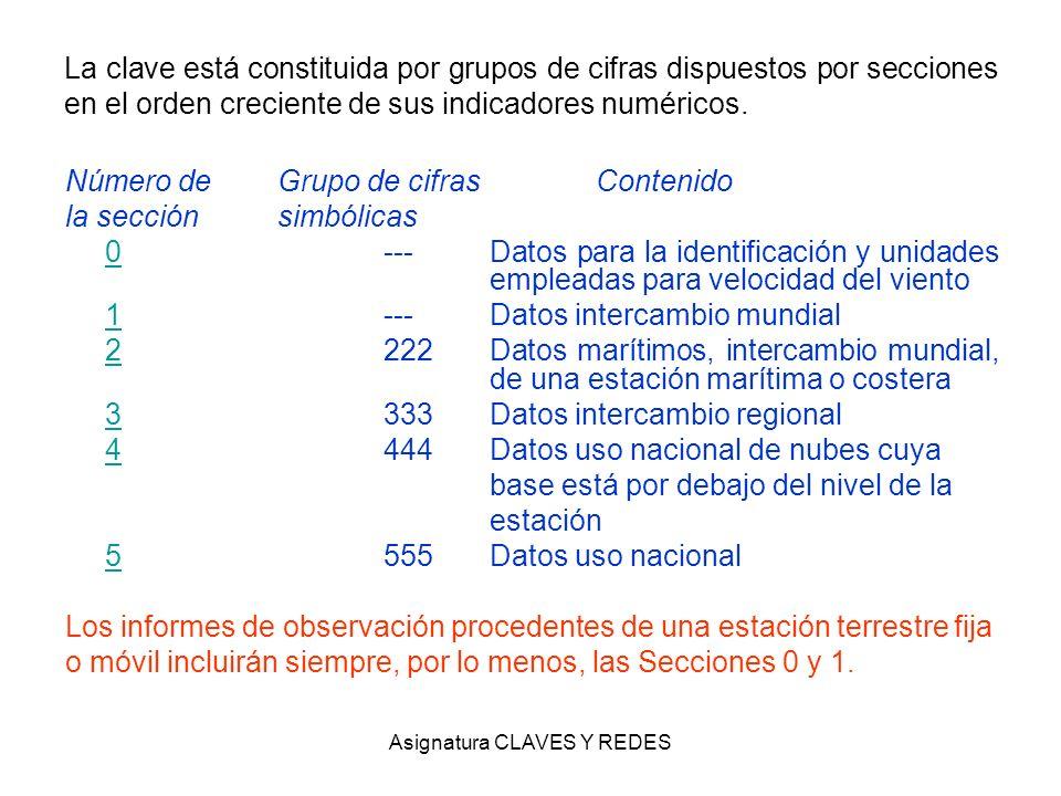 Asignatura CLAVES Y REDES La clave está constituida por grupos de cifras dispuestos por secciones en el orden creciente de sus indicadores numéricos.