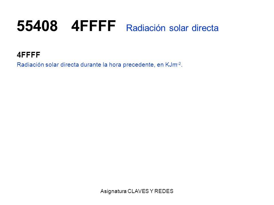 Asignatura CLAVES Y REDES 554084FFFF Radiación solar directa 4FFFF Radiación solar directa durante la hora precedente, en KJm -2.