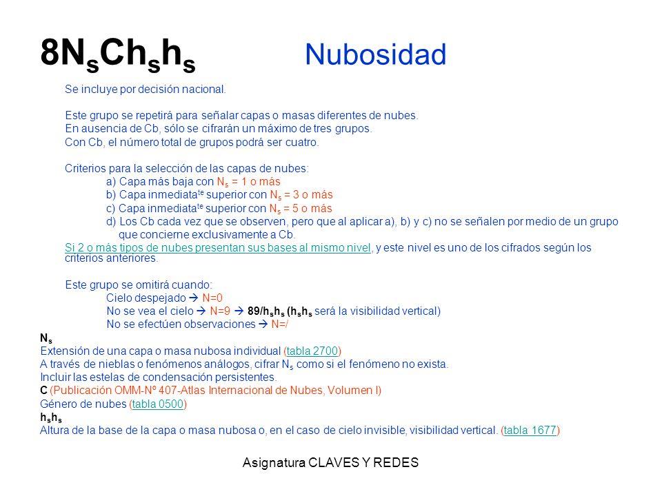 Asignatura CLAVES Y REDES 8N s Ch s h s Nubosidad Se incluye por decisión nacional. Este grupo se repetirá para señalar capas o masas diferentes de nu