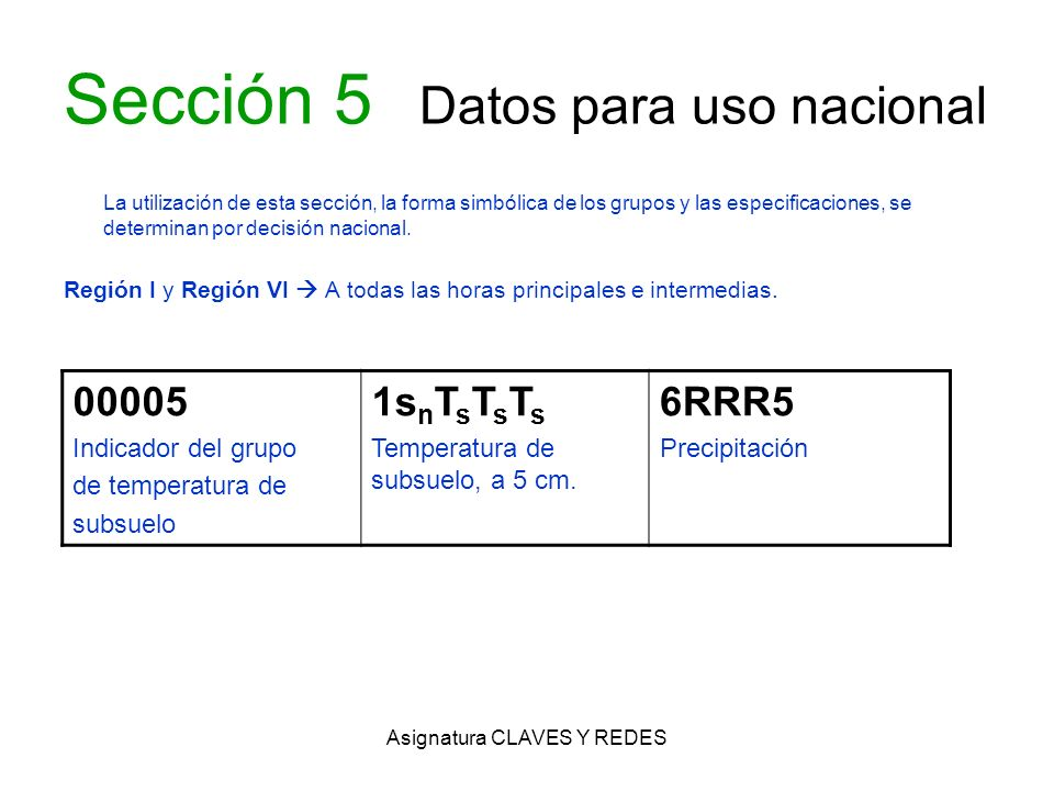 Asignatura CLAVES Y REDES Sección 5 Datos para uso nacional La utilización de esta sección, la forma simbólica de los grupos y las especificaciones, s