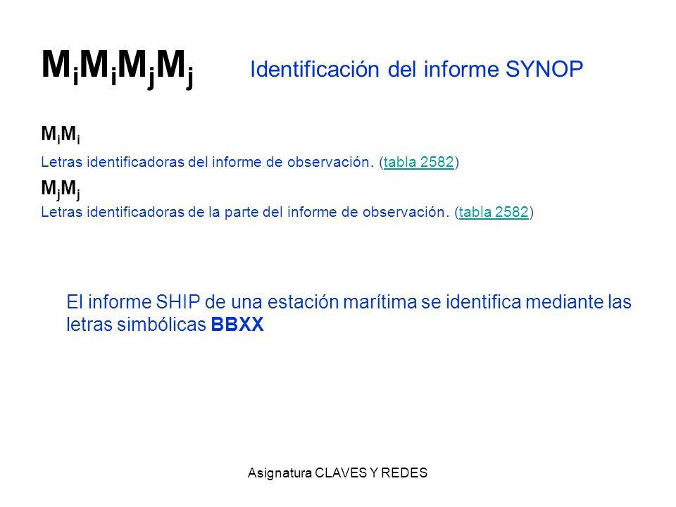 Asignatura CLAVES Y REDES M i M i M j M j Identificación del informe SYNOP M i Letras identificadoras del informe de observación. (tabla 2582)tabla 25