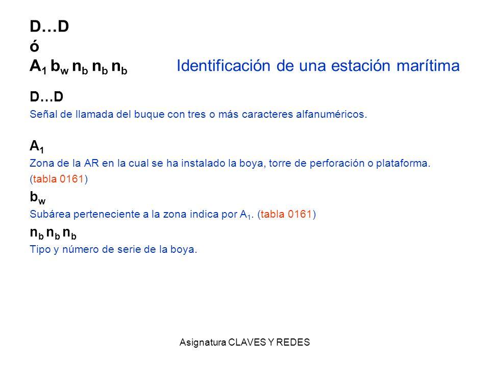 Asignatura CLAVES Y REDES D…D ó A 1 b w n b n b n b Identificación de una estación marítima D…D Señal de llamada del buque con tres o más caracteres a