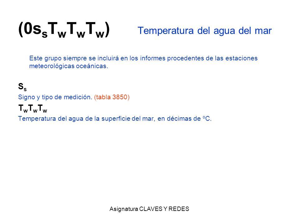 Asignatura CLAVES Y REDES (0s s T w T w T w ) Temperatura del agua del mar Este grupo siempre se incluirá en los informes procedentes de las estacione