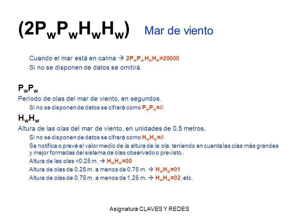 Asignatura CLAVES Y REDES (2P w P w H w H w ) Mar de viento Cuando el mar está en calma 2P w P w H w H w =20000 Si no se disponen de datos se omitirá.