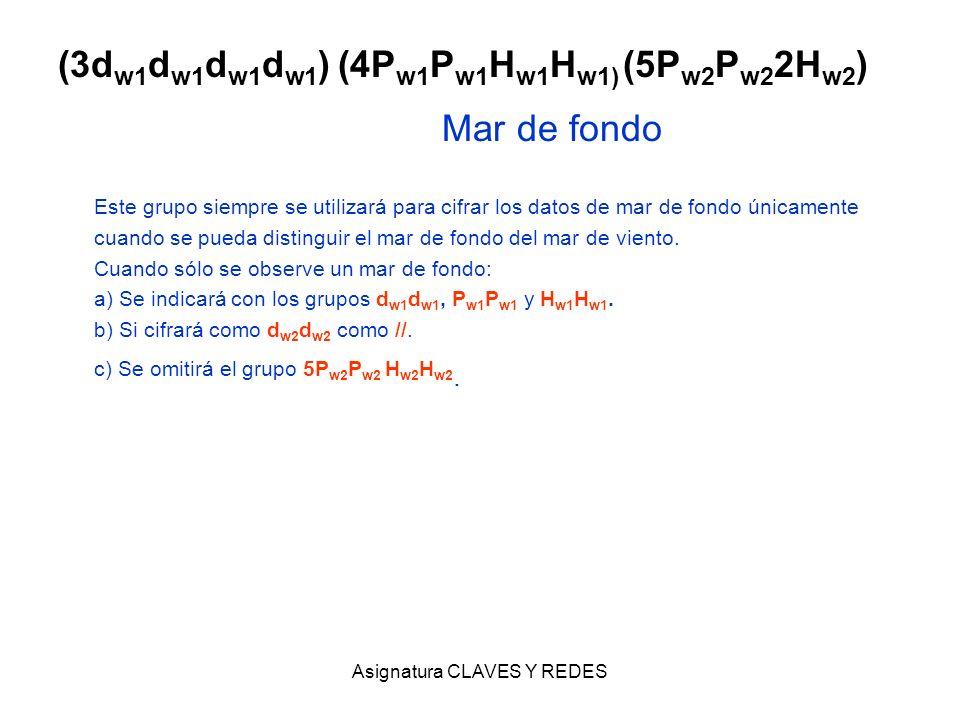 Asignatura CLAVES Y REDES (3d w1 d w1 d w1 d w1 ) (4P w1 P w1 H w1 H w1) (5P w2 P w2 2H w2 ) Mar de fondo Este grupo siempre se utilizará para cifrar