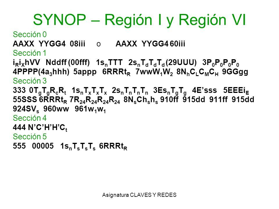 Asignatura CLAVES Y REDES SYNOP – Región I y Región VI Sección 0 AAXX YYGG4 08iiio AAXX YYGG4 60iii Sección 1 i R i X hVV Nddff (00fff) 1s n TTT 2s n