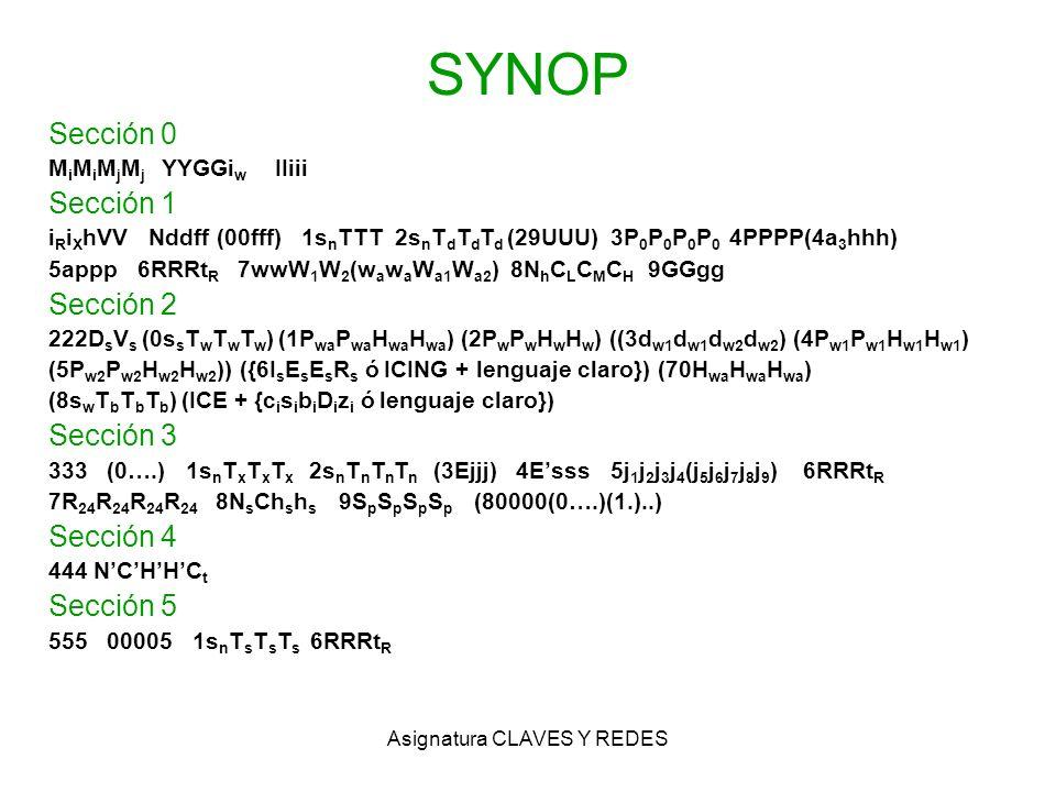 Asignatura CLAVES Y REDES SYNOP Sección 0 M i M i M j M j YYGGi w IIiii Sección 1 i R i X hVV Nddff (00fff) 1s n TTT 2s n T d T d T d (29UUU) 3P 0 P 0