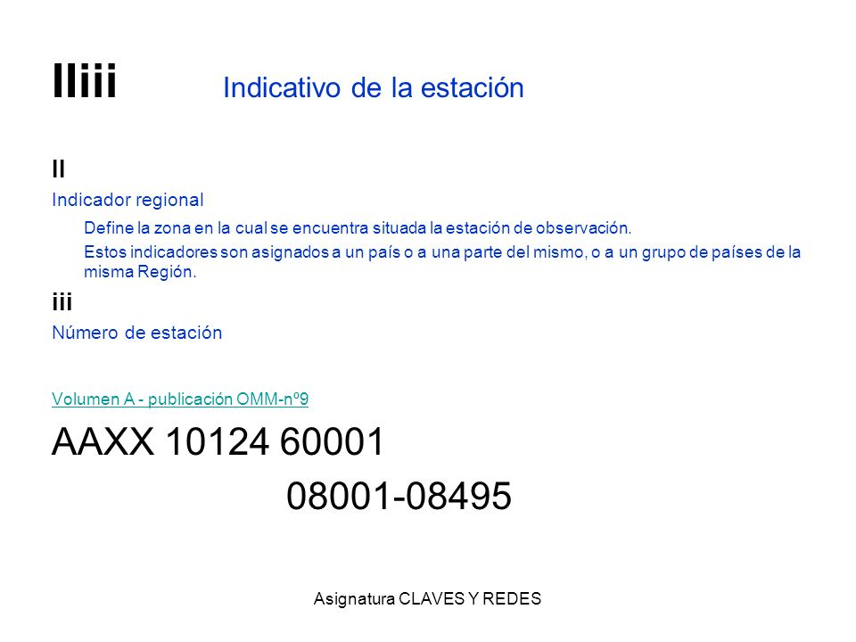 Asignatura CLAVES Y REDES IIiii Indicativo de la estación II Indicador regional Define la zona en la cual se encuentra situada la estación de observac