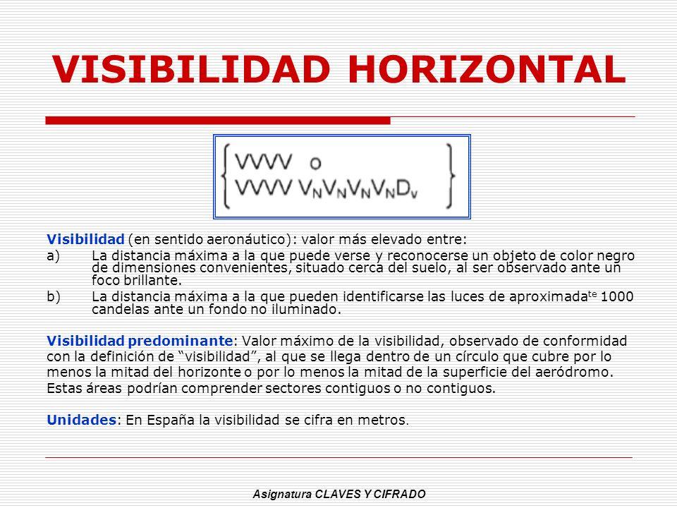 Asignatura CLAVES Y CIFRADO VISIBILIDAD HORIZONTAL Visibilidad (en sentido aeronáutico): valor más elevado entre: a)La distancia máxima a la que puede