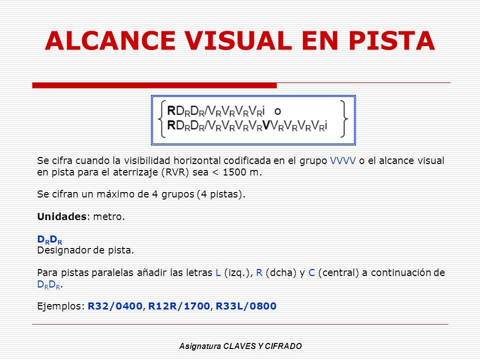 Asignatura CLAVES Y CIFRADO ALCANCE VISUAL EN PISTA Se cifra cuando la visibilidad horizontal codificada en el grupo VVVV o el alcance visual en pista