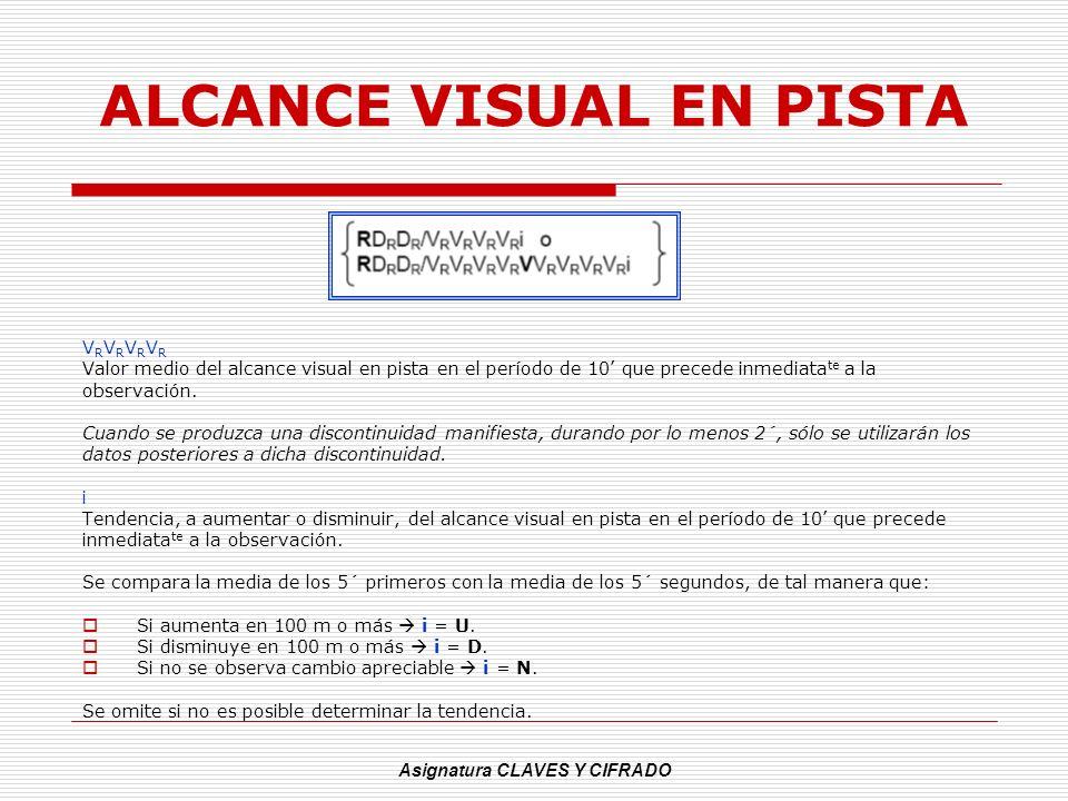 Asignatura CLAVES Y CIFRADO ALCANCE VISUAL EN PISTA V R V R Valor medio del alcance visual en pista en el período de 10 que precede inmediata te a la