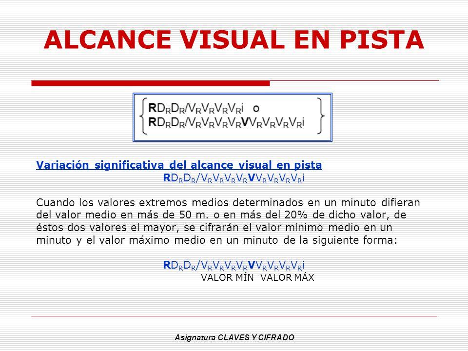 Asignatura CLAVES Y CIFRADO ALCANCE VISUAL EN PISTA Variación significativa del alcance visual en pista RD R D R /V R V R V R V R VV R V R V R V R i C