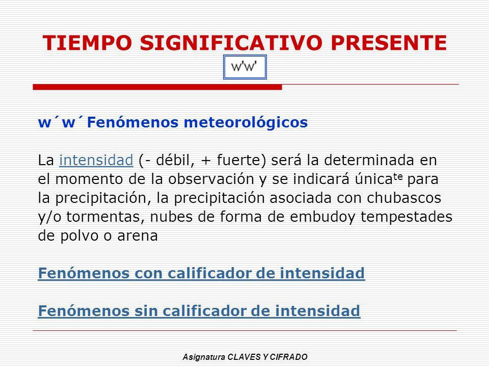 Asignatura CLAVES Y CIFRADO TIEMPO SIGNIFICATIVO PRESENTE w´w´Fenómenos meteorológicos La intensidad (- débil, + fuerte) será la determinada enintensi
