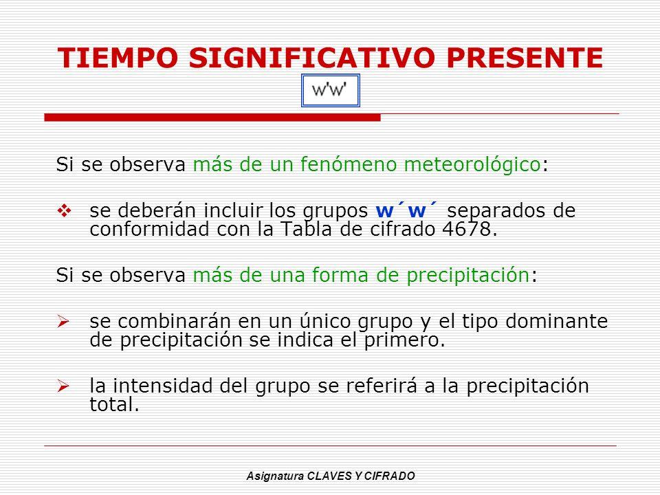 Asignatura CLAVES Y CIFRADO TIEMPO SIGNIFICATIVO PRESENTE Si se observa más de un fenómeno meteorológico: se deberán incluir los grupos w´w´ separados