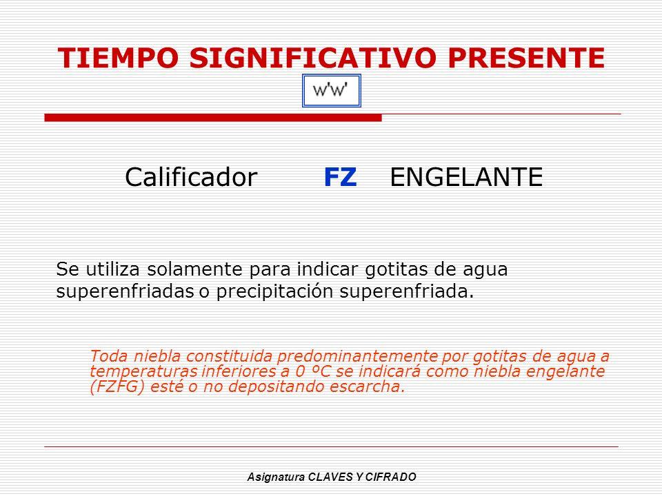 Asignatura CLAVES Y CIFRADO TIEMPO SIGNIFICATIVO PRESENTE CalificadorFZENGELANTE Se utiliza solamente para indicar gotitas de agua superenfriadas o pr