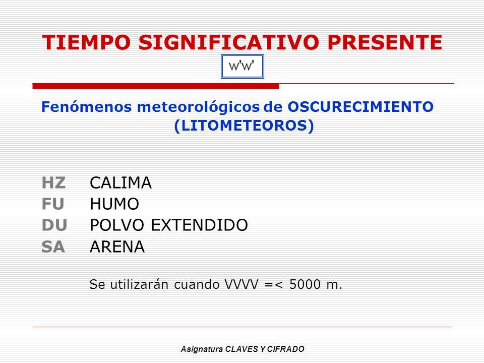 Asignatura CLAVES Y CIFRADO TIEMPO SIGNIFICATIVO PRESENTE Fenómenos meteorológicos de OSCURECIMIENTO (LITOMETEOROS) HZCALIMA FU HUMO DUPOLVO EXTENDIDO
