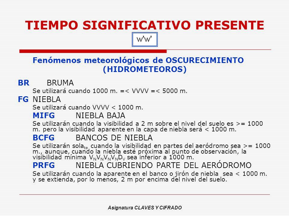 Asignatura CLAVES Y CIFRADO TIEMPO SIGNIFICATIVO PRESENTE Fenómenos meteorológicos de OSCURECIMIENTO (HIDROMETEOROS) BRBRUMA Se utilizará cuando 1000