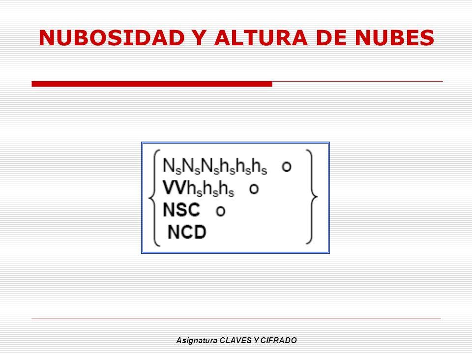 Asignatura CLAVES Y CIFRADO NUBOSIDAD Y ALTURA DE NUBES