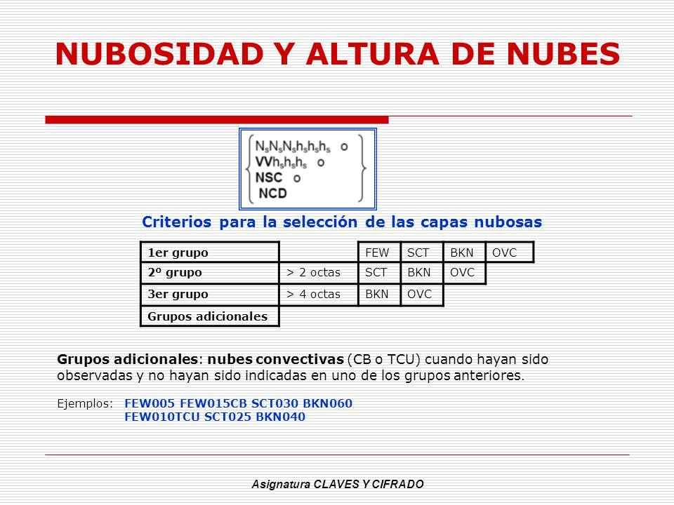Asignatura CLAVES Y CIFRADO NUBOSIDAD Y ALTURA DE NUBES Criterios para la selección de las capas nubosas Grupos adicionales: nubes convectivas (CB o T