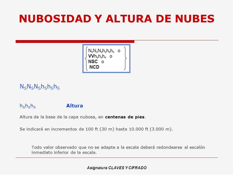 Asignatura CLAVES Y CIFRADO NUBOSIDAD Y ALTURA DE NUBES NSNSNShShShSNSNSNShShShS h S h S h S Altura Altura de la base de la capa nubosa, en centenas d