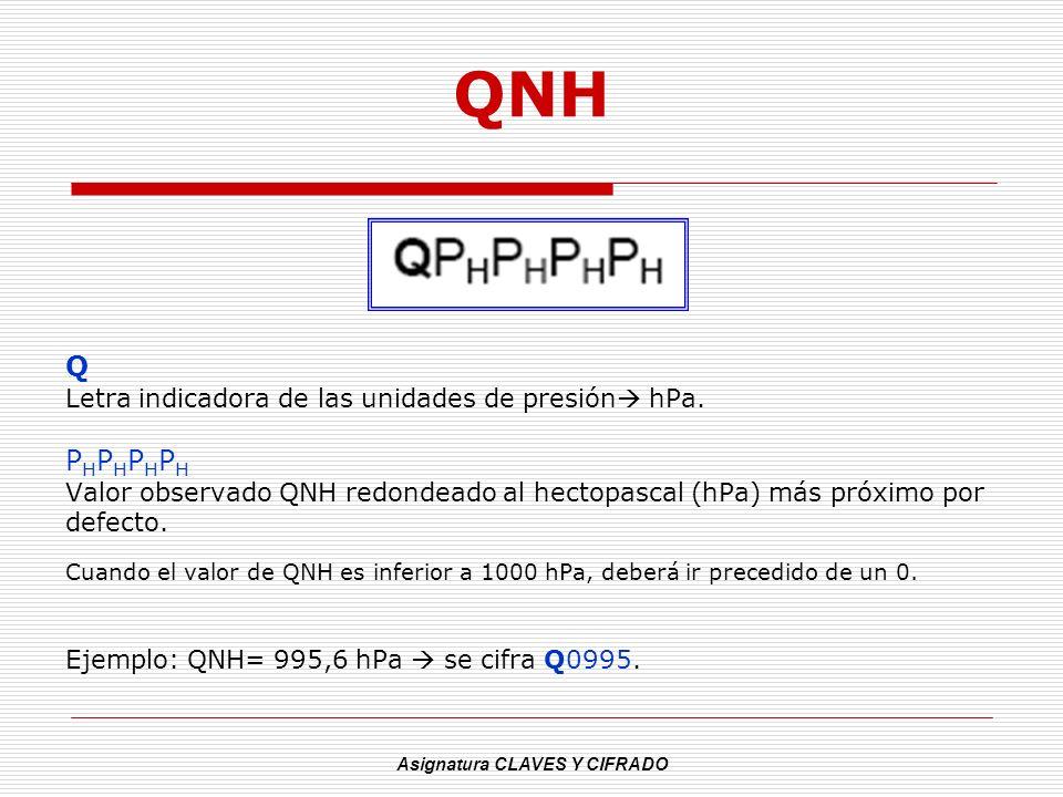 Asignatura CLAVES Y CIFRADO QNH Q Letra indicadora de las unidades de presión hPa. PHPHPHPHPHPHPHPH Valor observado QNH redondeado al hectopascal (hPa
