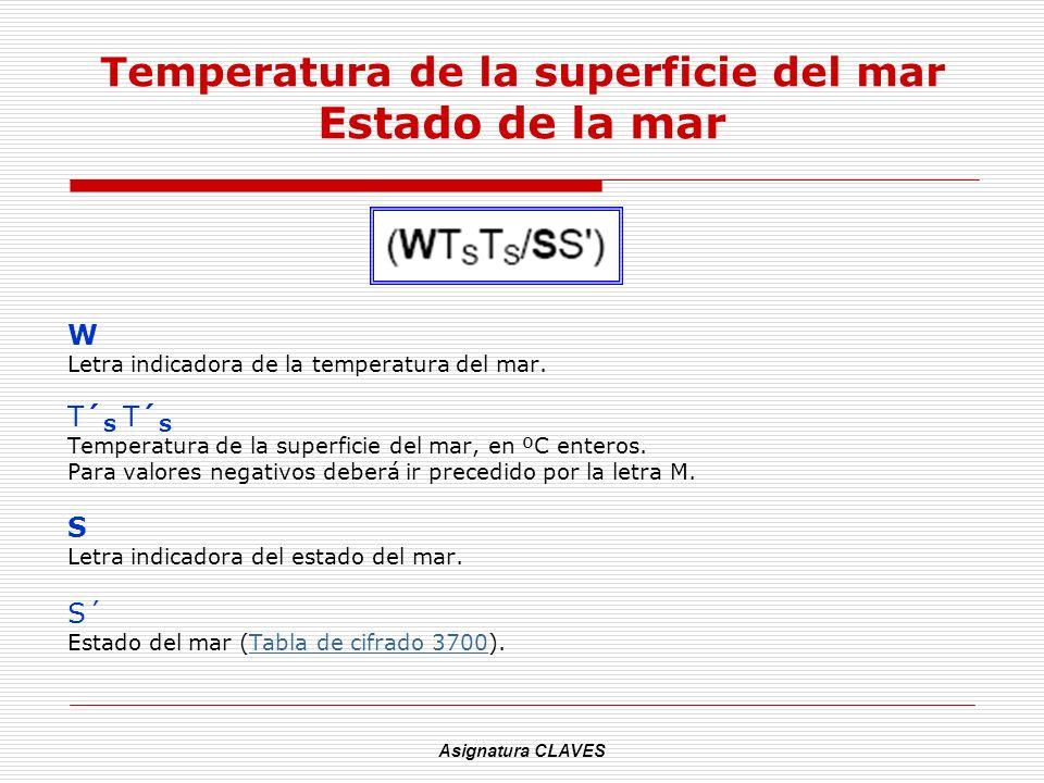 Asignatura CLAVES Temperatura de la superficie del mar Estado de la mar W Letra indicadora de la temperatura del mar. T´ S Temperatura de la superfici