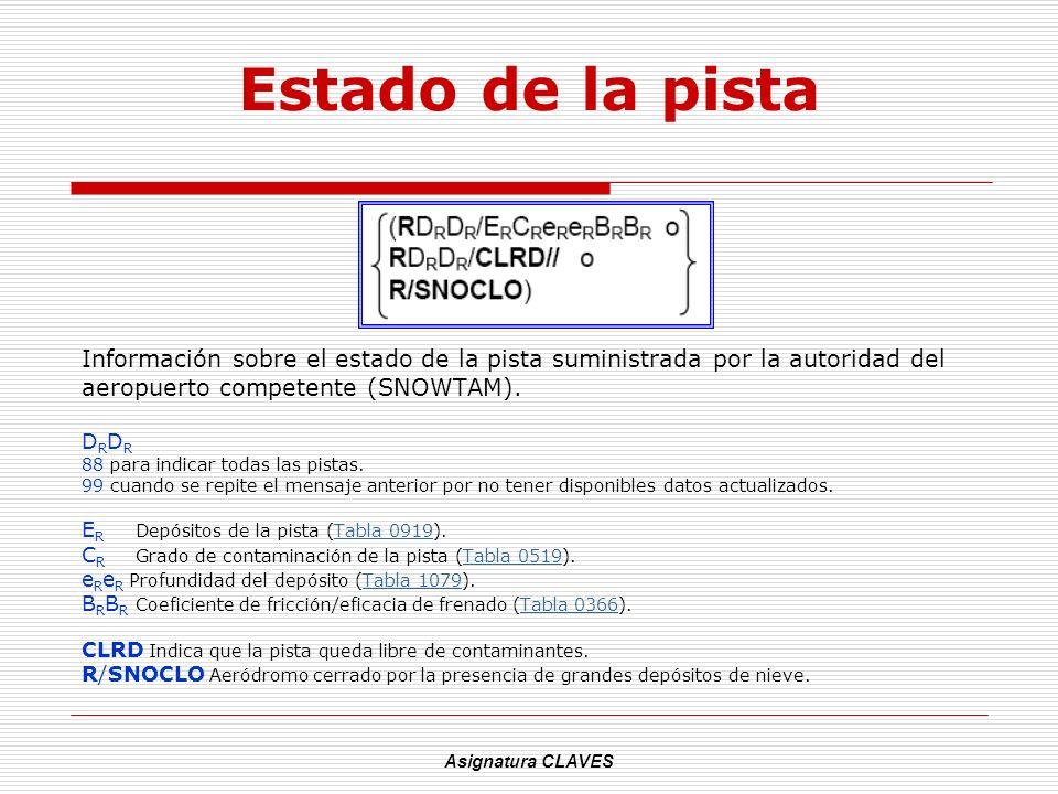 Asignatura CLAVES Estado de la pista Información sobre el estado de la pista suministrada por la autoridad del aeropuerto competente (SNOWTAM). D R 88