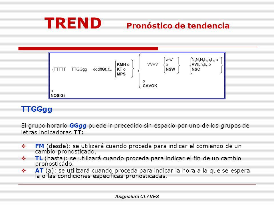Asignatura CLAVES TREND Pronóstico de tendencia TTGGgg El grupo horario GGgg puede ir precedido sin espacio por uno de los grupos de letras indicadora