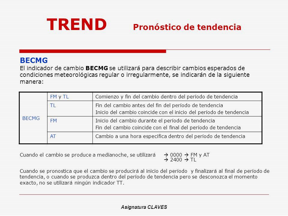 Asignatura CLAVES TREND Pronóstico de tendencia BECMG El indicador de cambio BECMG se utilizará para describir cambios esperados de condiciones meteor