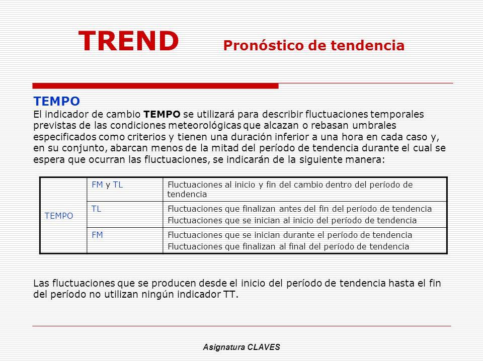 Asignatura CLAVES TREND Pronóstico de tendencia TEMPO El indicador de cambio TEMPO se utilizará para describir fluctuaciones temporales previstas de l