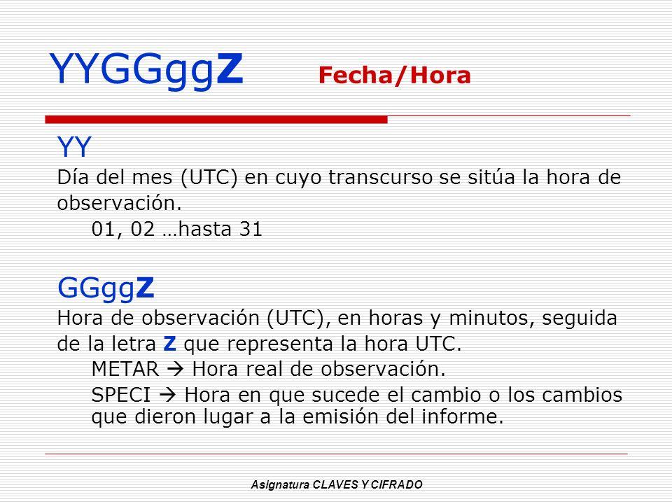 Asignatura CLAVES Y CIFRADO YYGGggZ Fecha/Hora YY Día del mes (UTC) en cuyo transcurso se sitúa la hora de observación. 01, 02 …hasta 31 GGggZ Hora de
