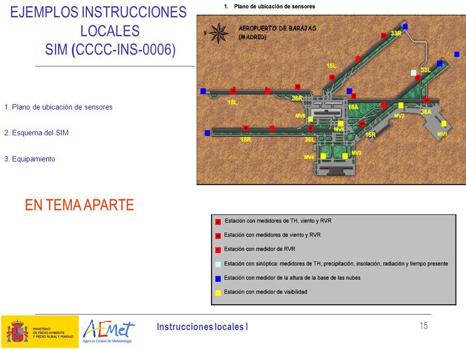Instrucciones locales I 15 EJEMPLOS INSTRUCCIONES LOCALES SIM ( CCCC-INS-0006) 1. Plano de ubicación de sensores 2. Esquema del SIM 3. Equipamiento EN
