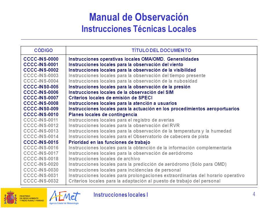 Instrucciones locales I 4 Manual de Observación Instrucciones Técnicas Locales CÓDIGOTÍTULO DEL DOCUMENTO CCCC-INS-0000 CCCC-INS-0001 CCCC-INS-0002 CC