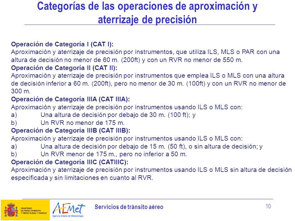 Servicios de tránsito aéreo 10 Categorías de las operaciones de aproximación y aterrizaje de precisión Operación de Categoría I (CAT I): Aproximación