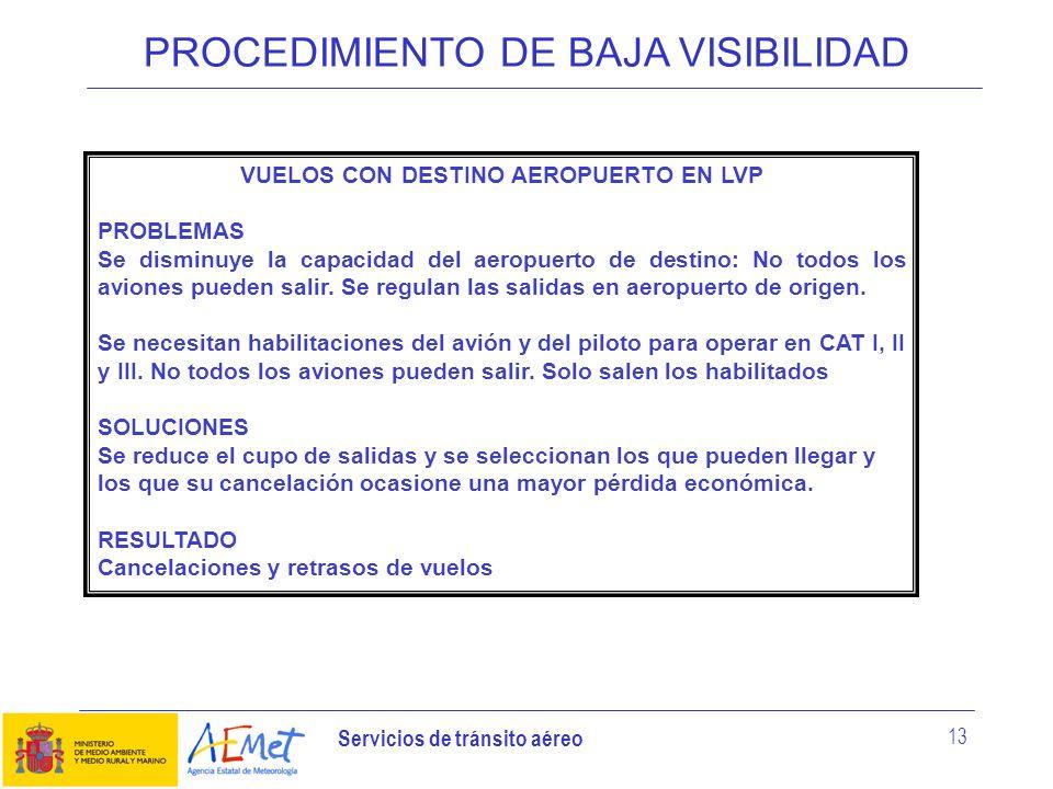 Servicios de tránsito aéreo 13 PROCEDIMIENTO DE BAJA VISIBILIDAD VUELOS CON DESTINO AEROPUERTO EN LVP PROBLEMAS Se disminuye la capacidad del aeropuer