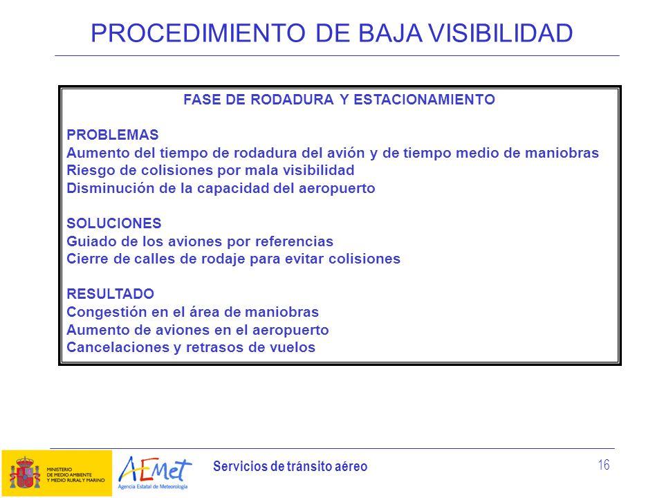 Servicios de tránsito aéreo 16 PROCEDIMIENTO DE BAJA VISIBILIDAD FASE DE RODADURA Y ESTACIONAMIENTO PROBLEMAS Aumento del tiempo de rodadura del avión