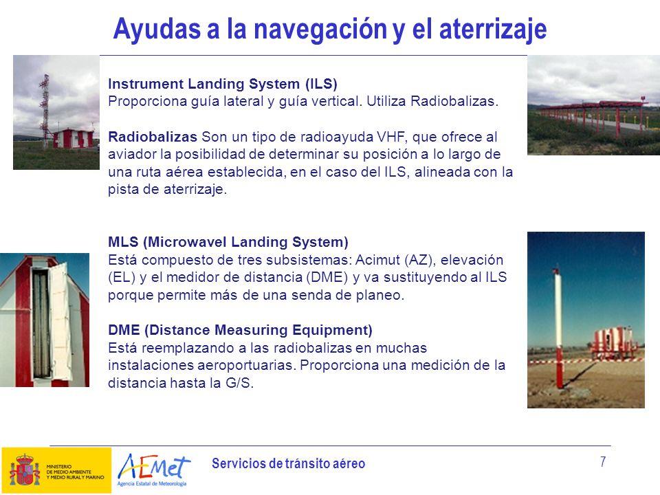Servicios de tránsito aéreo 7 Ayudas a la navegación y el aterrizaje Instrument Landing System (ILS) Proporciona guía lateral y guía vertical. Utiliza
