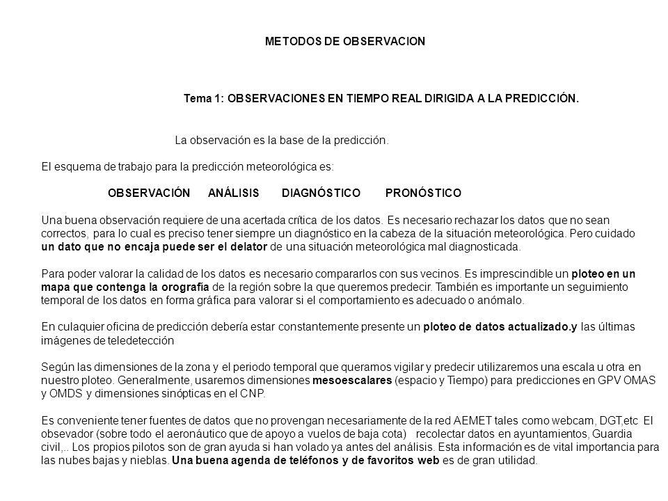 METODOS DE OBSERVACION Tema 1: OBSERVACIONES EN TIEMPO REAL DIRIGIDA A LA PREDICCIÓN. La observación es la base de la predicción. El esquema de trabaj
