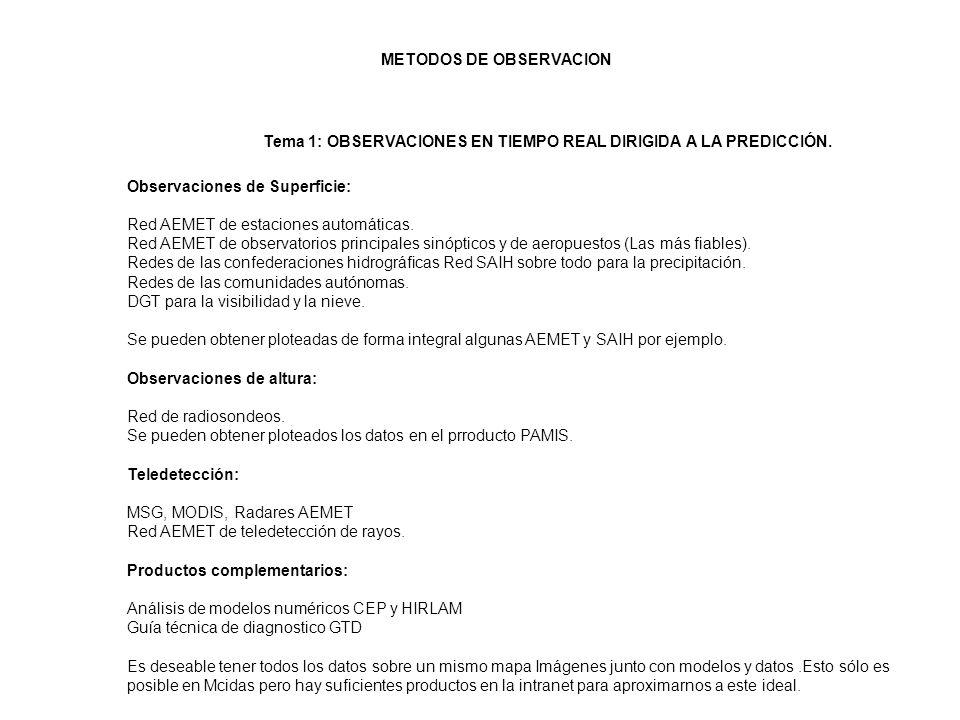 Tema 1: OBSERVACIONES EN TIEMPO REAL DIRIGIDA A LA PREDICCIÓN. Observaciones de Superficie: Red AEMET de estaciones automáticas. Red AEMET de observat