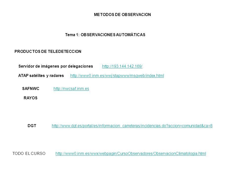 PRODUCTOS DE TELEDETECCION http://193.144.142.169/ Servidor de imágenes por delegaciones http://www0.inm.es/wwj/stapwww/msgweb/index.html ATAP satélit