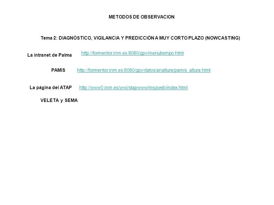 Tema 2: DIAGNÓSTICO, VIGILANCIA Y PREDICCIÓN A MUY CORTO PLAZO (NOWCASTING) http://formentor.inm.es:8080/gpv/menutiempo.html La intranet de Palma http