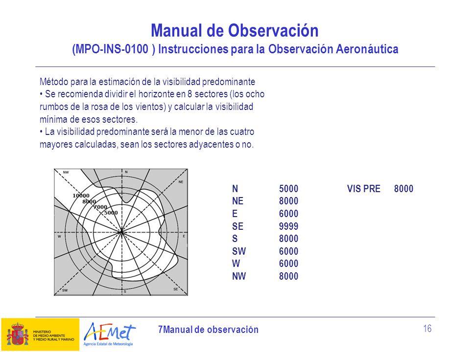 7Manual de observación 16 Manual de Observación (MPO-INS-0100 ) Instrucciones para la Observación Aeronáutica Método para la estimación de la visibili