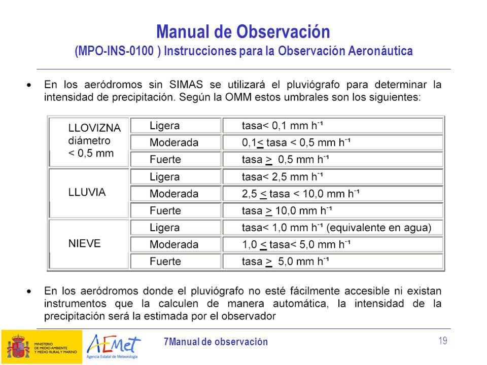 7Manual de observación 19 Manual de Observación (MPO-INS-0100 ) Instrucciones para la Observación Aeronáutica