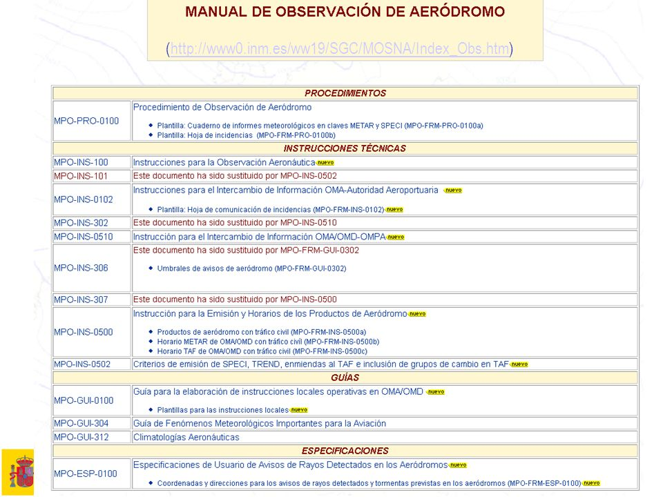 7Manual de observación 4 Manual de Observación Procedimientos MPO-PRO-0100: Procedimiento de Observación de Aeródromo Plantillas: MPO-FRM-PRO-0100a: Cuaderno de informes meteorológicos en claves METAR y SPECI MPO-FRM-PRO-0100b: Hoja de incidencias Nota: Se recuerda que la versión on-line en la Intranet es la versión oficial de los documentos.