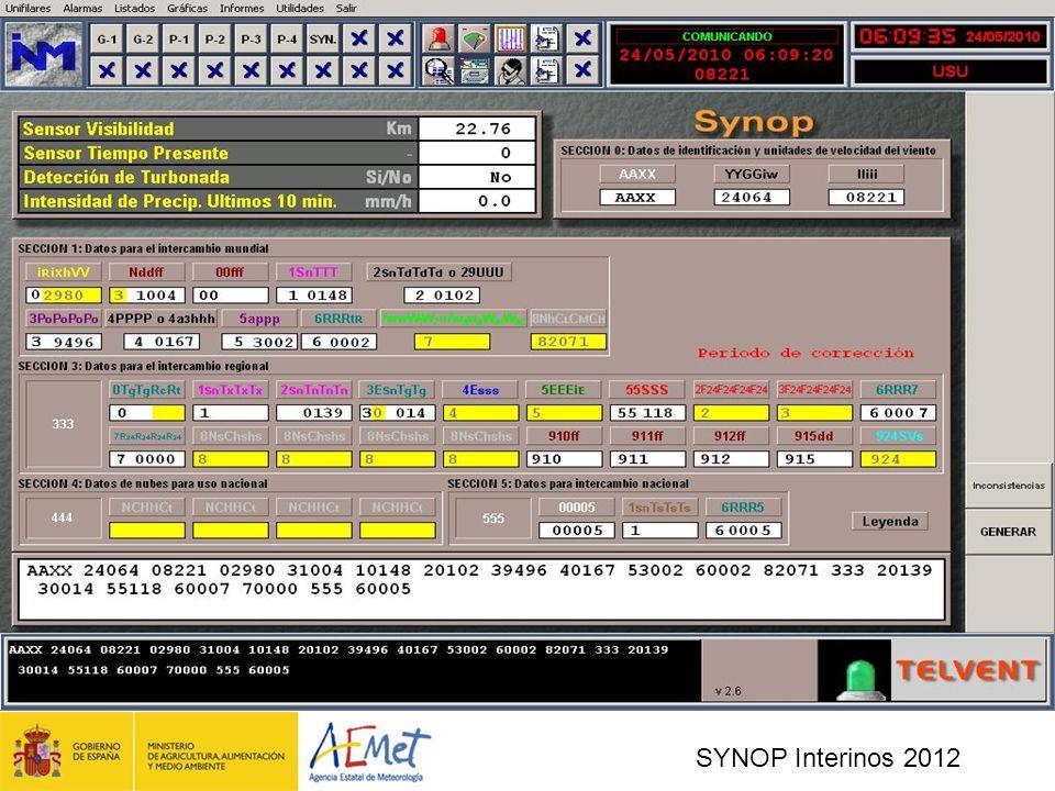 SYNOP Interinos 2012 Pantalla capturada de la aplicación SIMAS